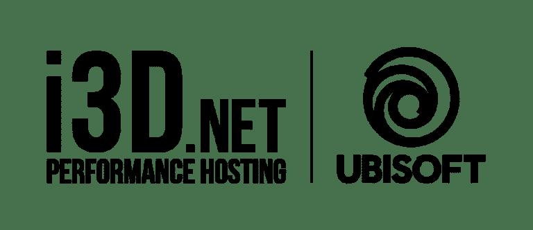i3D.net and Ubisoft logo in black on transparent background