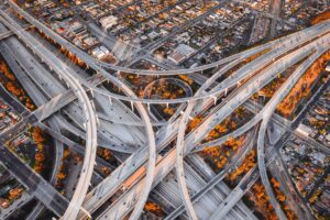 Big infrastructure with roads and bridges with cars passing over