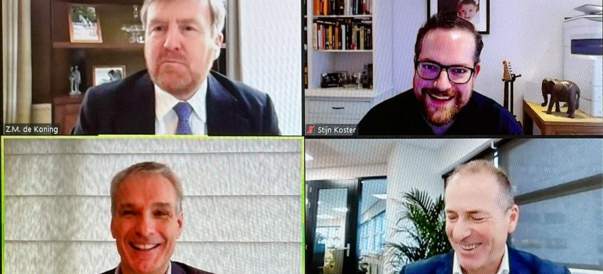 A screenshot of the Video Call with His Majesty The King of The Netherlands