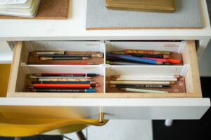 Image of pencils on a drawer divider