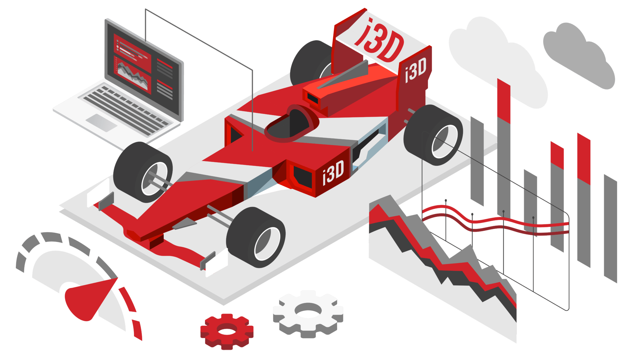 Racecar and platform with i3D.net brand