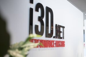 i3D.net Performance Hosting logo on wall